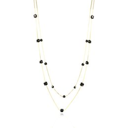 Wholesale Brass Glass Beads Necklace - Goldtone Jet Black Faceted Square Glass Beads Double Snake Chain Long Necklace