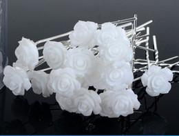 Wholesale White Silk Rose Hair Clip - 20 PCS Wedding Bridal Rose Flower Hair Pins Clips Bridesmaid
