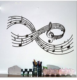 Wholesale Free Music Stickers - New Anime ColorfulHall Large Music Symbols Note Vinyl Lettering Art Decal Poster Wall Sticker Home Decor Decal Free Shipping