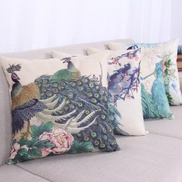 Wholesale Painting Memory - Pillowcase New Cafe Cushion Classical Style Ink Painting Chinese Peacock Pattern Thick Cotton Linen Thick Pillow Cases Cushion Covers
