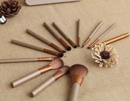 Wholesale christmas makeup brush gift set - New Brand Women 12Pcs Set Make Up Cosmetic Brush Kit Makeup Brushes Pink iron Case Toiletry beauty appliances makeup brush Christmas gift