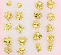 Wholesale Earrings Gold 24k Wholesale - Women nail Earrings Mix order butterfly flowers animal style 30Pairs plating 24K Yellow Gold Filled GF Wives big Lady's Earrings Jewelry