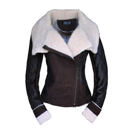 Wholesale Lambs Wool Womens Jackets - Wholesale-2015 Winter Woman Leather Jacket Womens Wind Lapel Wool Lamb Suede Motorcycle Jacket Veste Cuir Femme Women Coats and Jackets