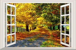 Wholesale Window View Wall Mural - Fashion Large Maple Boulevard 3D Window View Removable Wall Stickers Room Art Decal Home Mural Wall Papers