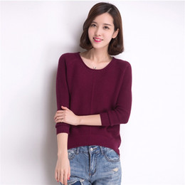 Wholesale Slim Fit Cashmere Sweater - Wholesale- 2016 Autumn&Spring Cashmere Fashion Women Pullovers O- Neck Solid Color Slim Fit Knitted Casual Sweater Plus Size