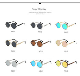 Wholesale Mens Circle Sunglasses - High Quality UV400 Gothic Steampunk Mens Sunglasses Coating Mirrored Sunglasses Round Circle Sun glasses Retro Vintage Gafas Masculino Sol