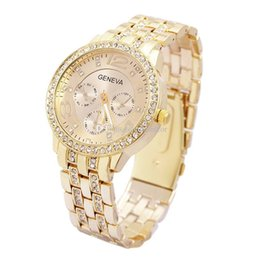 Wholesale Chronograph Gold Watch For Women - Geneva Stainless Steel Watch Fashion Metal Quartz wrist watches for Men Women Unisex luxury watches Geneva Crystal Watches Gold watches