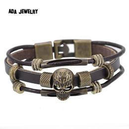 Wholesale Men S Infinity Bracelet - Wholesale-New Arrival Handmade Men 's Charms Bracelet 2015 Fashion Punk Style Black Leather Infinity Skull Bracelet Wrap Bracelet