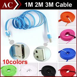 Wholesale 2m Flat Noodle Usb Apple - 1M 2M 3M 10ft Flat Noodle Data Sync Charger Line Micro USB Extra Charging Ribbon Cable for Samsung GALAXY S4 S6 Sony LG HTC High Speed DHL
