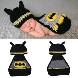 Wholesale Infant Sleep Hat - Retail Baby Infant Batman Photography Prop Newborn Handmade Crochet Outfits Design Warm Boy Cap Girl Hat Sleep Bag Free Shipping