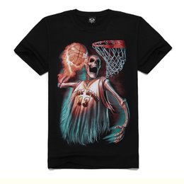 Wholesale Shirt Basket - 3D Printed Short Sleeves T-Shirt For Men 100% Cotton Personality Skull Basket Ball 3D Printed Pattern Casual Tshirt t shirt HJC3DTX133