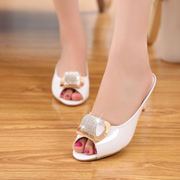 Wholesale W C Cover - Wholesale- 4 Colors Size 34-43 Dropshipping Hot Sale European Lady Sandals Elegant Rhinestone Open Toe Slippers Big Size Slippers B233-1