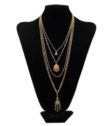 Deutschland Europäische und amerikanische antike mehrstöckige Quaste lange Strickjacke Kette Türkis Halskette Gold und Silber Länge 45 ~ 76cm Versorgung