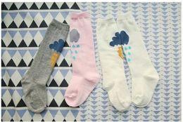 Wholesale Korean High Knee Socks - New baby leg warmers Korean Cute clouds baby socks toddler socks girls knee high socks Toddler long socks Cotton Sock Baby Girls Socks 5425