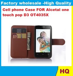 Wholesale D3 Case - Hot Selling Lychee Wallet Leather Cover Stand With Card Holder Case For Alcetal one touch pop D3 OT4035X FREESHIPPING