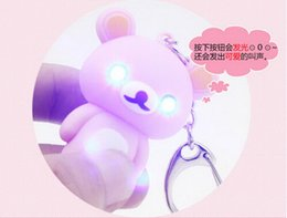 Wholesale Boys Yellow Cartoon Bear - Factory Price Fashion Teddy Bear LED Key Chain w  Light and sound Key Ring Toys Christmas Xmas Gift for kids 100pcs lot by DHL Free Shipping
