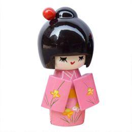 Wholesale Diy Doll Flowers - Wholesale- MYMF Best Sale 3 Pcs Flower Print Wood Japanese Folk Craft Kokeshi Doll Pink