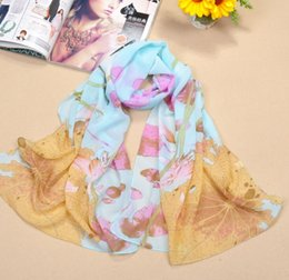 Wholesale Tartan Chiffon - 2015 New Lotus Printed Scarves For Women Fashion Elegant Lady's Sunscreen Scarf High Quanlity Chiffon Material
