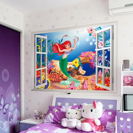 Wholesale Window Sticker Fake - 2015 Mermaid Wall Stickers 3D fake windows waterproof children's room wall stickers Wallpaper Christmas Wall Art gift