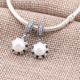 Wholesale Pandora Pearls - Pearl Beads for Pandora Chams 925 Sterling Silver Freshwater Pearls Beads With CZ Diamond Stones for DIY Pandora Charm PJ0023-1B