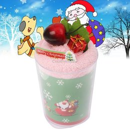 Wholesale Sweet Cake Towel - Wholesale-2015 Christmas Supplies Sweet Cake Style Towel Facial Handkerchief Christmas Gift with Clear Plastic Cup, Pink
