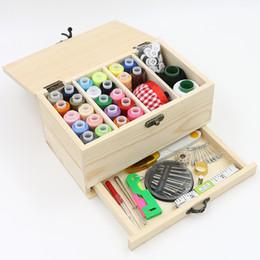 Wholesale Sewing Box Kits - Threader Needle Tape Thimble Storage Box Sewing Kit Tool kit wood sewing set LZ0527