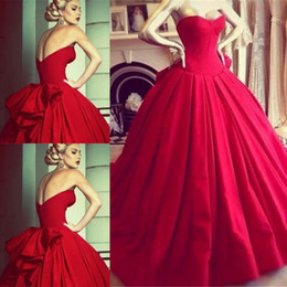 Wholesale Short Wedding Dress Big Bows - 2015 Vintage Princess Red Wedding Dresses Formal Dress Ball Gowns Bodice Sweetheart Floor Length Big Bow Back Backless Wedding Bride Dresses