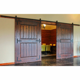 Wholesale closet door styles - 10FT Antique Black Wooden Double Sliding Barn Closet Door Heavy Duty Modern Wood Hardware Interior American Style Track Kit