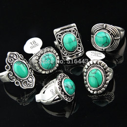 Wholesale 143 Jewelry - Freeshipping 2016 New Arrival Vintage 5pcs Green Turquoise Stones Antique Silver Women Mens Rings Wholesale Jewelry Lots A-143