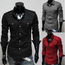 Wholesale Dress Shirts For Mens - New unique Anchor Slim shirt Men's Long Sleeve Shirts Lapel Mens Shirt Slim Dress Shirts For Men Business Shirts