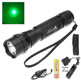 Wholesale Led Torch Tactical Usa - USA EU Hot Sel WF-501B 1-Mode Cree Q5 green LED Flashlight torches with Battery Ac charger Car charger flashlight holster