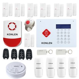 Wholesale System Gsm 433 - H35 RFID Wireless GSM Home Security Alarm System Burglar Touch Keypad LCD Voice with 433 Wrist SOS Strobe Siren Smoke Detector