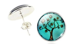 Wholesale Family Earrings - 2016 New Fashion Family Art Tree Glass Cabochon Silver Stud Earrings Jewelry Earrings For Women