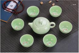 Wholesale Ceramic Fish - 7pcs Chinese Longquan Celadon Porcelain Teacups teapot Tea Cup teacup Bowl Golden Fish China teaset Tea Pot Crackle Tea Set