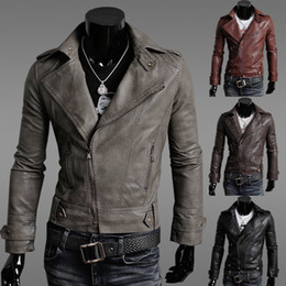 Wholesale Mens Casual Jackets For Spring - Winter Jackets For Men Outdoor PU Brown Black Fall Winter Spring long Motorcycle Soft Shell leather sleeve denim Mens Jackets ZJ1465