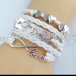 Wholesale Necklace One Direction Bracelet - Wholesale-1d one direction bracelet watch love bracelet wrap charm leather bracelets for women one direction necklace leather bracelet men