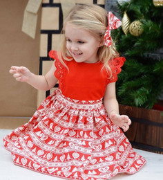 Wholesale Snow Headband - 2018 Summer kids love heart christmas tree snow printed princess dress+Bows headband 2pcs sets baby girls lace fly sleeve romper R1391