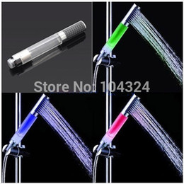 Wholesale Green Faucet Red - 3 Colors Green Red Blue RGB Temperature Sensor Control LED Light Handheld Shower Head Water Bathroom sprinkler Glow Faucet