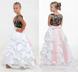 Wholesale Tree Jewel - Hot Sale Camo Flower Girls Dresses 2015 Floor-length Ruched Skirt Sleeveless Real Tree Country Style Girls' Formal Prom Party Dress