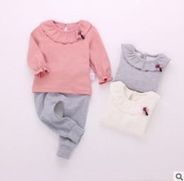 Wholesale Little Girl Collar Shirts - Baby little girls T-shirt toddler falbala collar princess tops children cotton bottomings shirt fashion new kids long sleeve Tees R0976