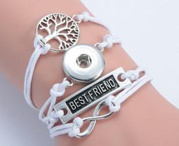 Wholesale Infinity Bracelet Wishing Tree - infinity best friend wishing tree noosa button bracelet alloy pu leater woven handmade snap button bracelet diy jelwery for 18mm 10pcs