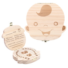 Wholesale Personalized Baby Girl Gifts - Tooth Box for Baby Save Milk Teeth Boys Girls Image Wood Teeth Storage Boxes Creative Gift for Kids English Version DHL Free