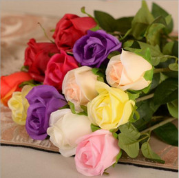 Wholesale Beautiful Craft Rooms - 2015 New Beautiful Artificial Rose Silk Craft Flowers Real Touch Flowers For Wedding Christmas Room Decoration 10 Color Cheap Sale
