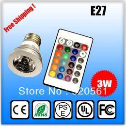 Wholesale Led Light Bulb Changable - 3W RGB 16 Color changable 3W LED Spotlights RGB led Light Bulb Lamp E27 GU10 E14 MR16 GU5.3 with 24 Key Remote Control 85-265V & 12V