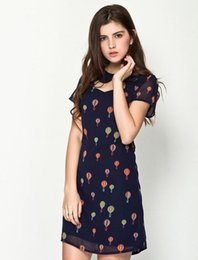 Wholesale Dresses Balloon - 2014 Summer Clothing New Style Sweet Hollow Out Doll Collar Hot-Air Balloon Printing Short Sleeve Slim Chiffon Ladies Dresses