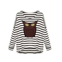 Wholesale Long Sleeve Owl Shirt - New Fashion Women T-Shirt Owl Pattern Stripe Round Neck Batwing Long Sleeve Casual Women Tops Tee Pullovers Blusas