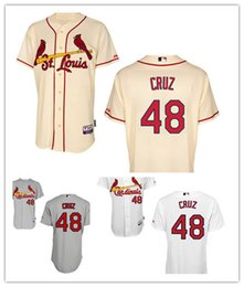 Wholesale Embroidered Shirt Free Shipping - Free Shipping St. Louis Cardinals 48 Tony Cruz Baseball Jersey 2015 Personalized Embroidered Stitched Shirt Cream Gray White