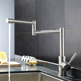 Wholesale Extended Mounts - Wholesale- Kitchen Sink Faucet Extended Flexible Folding All Stailnless Steel Material Pot Filler Faucet Water Mixer Basin Taps BCFLR004