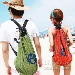 Wholesale Mesh Bags Swim - DHL Free Hot sale fashion mesh Backpack Beach bag casual Swimming use Bag