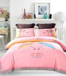 Wholesale Umbrella Machines - Fashion Love Umbrella 4pcs Bedding Sets American Wedding Cotton Home Textiles High Quality Home Collection Factory Direct Sales